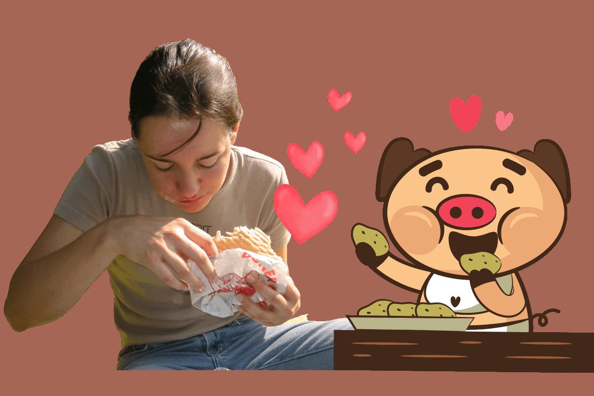 Essen wie ein kleines Schweinchen
